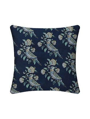 Blue Digital Printed Chanderi Cushion Cover (16in X 16in)