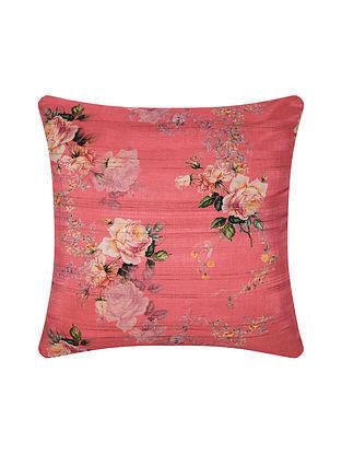 Pink Digital Printed Silk Cushion Cover (16in X 16in)