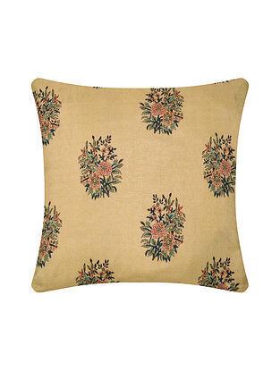 Beige Digital Printed Silk Cushion Cover (16in X 16in)