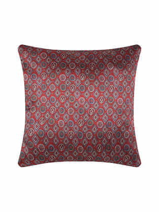 Maroon Digital Printed Chanderi Cushion Cover (20in X 20in)