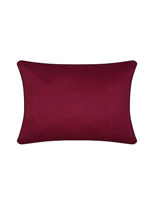 Burgundy Chanderi Cushion Cover (16in X 12in)