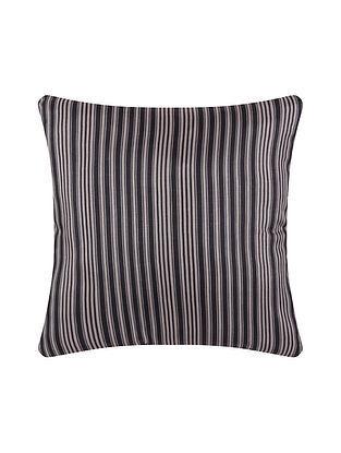 Black Digital Printed Chanderi Cushion Cover (20in X 20in)