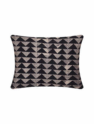 Black Digital Printed Chanderi Cushion Cover (16in X 12in)