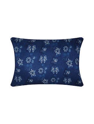 Indigo Digital Printed Chanderi Cushion Cover (20in X 14in)