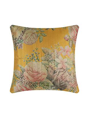 Yellow Digital Printed Silk Cushion Cover (20in X 20in)