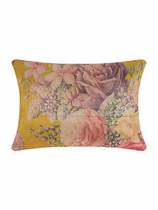 Yellow Digital Printed Silk Cushion Cover (16in X 12in)