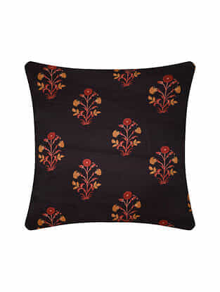 Brown Digital Printed Silk Cushion Cover (20in X 20in)