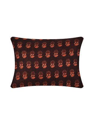 Brown Digital Printed Silk Cushion Cover (16in X 12in)