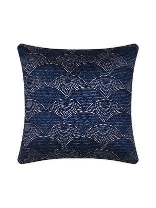 Blue Digital Printed Silk Cushion Cover (16in X 16in)
