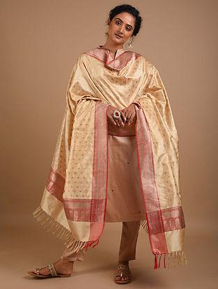 Beige Handwoven Benarasi Silk Dupatta