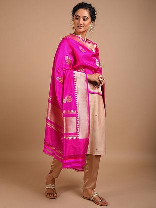 Pink Handwoven Benarasi Silk Dupatta
