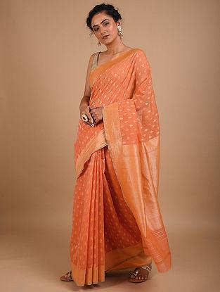 Peach Handwoven Benarasi Silk Saree
