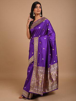 Purple Handwoven Benarasi Silk Saree