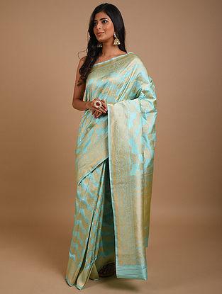 Turquoise Handwoven Benarasi Silk Saree