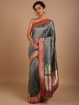Charcoal Handwoven Benarasi Silk Saree