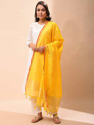 Yellow Handwoven Organza Silk Dupatta