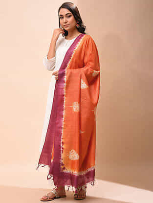 Orange-Red Handwoven Shibori Tussar Silk Dupatta