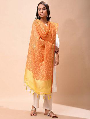 Orange-Yellow Handwoven Organza Silk Dupatta