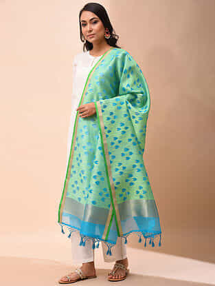 Green-Blue Handwoven Organza Silk Dupatta
