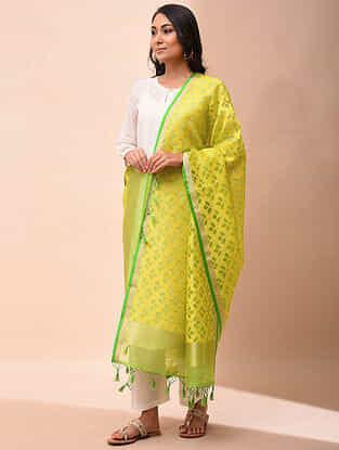 Yellow-Green Handwoven Organza Silk Dupatta