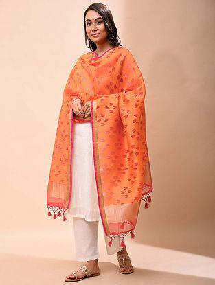 Orange Handwoven Organza Silk Dupatta