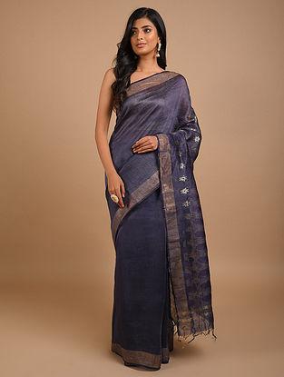 Navy Blue Handwoven Silk Linen Saree
