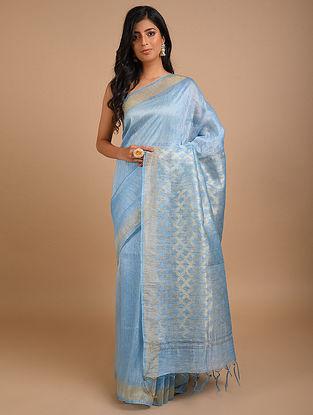 Blue Handwoven Silk Linen Saree