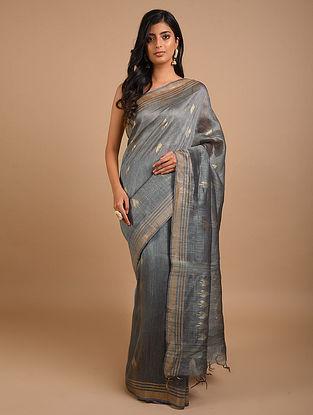 Grey Handwoven Silk Linen Saree