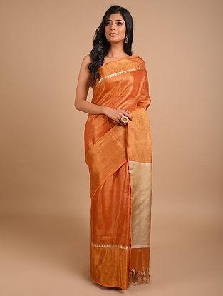 Orange Handwoven Tissue Linen Saree