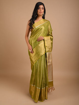 Green Handwoven Tissue Linen Saree