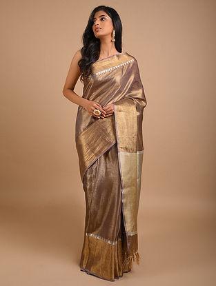 Beige Handwoven Tissue Linen Saree