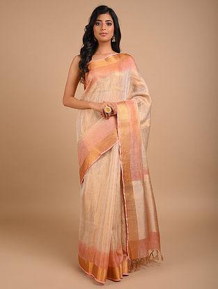 Peach Golden Handwoven Tissue Linen Saree