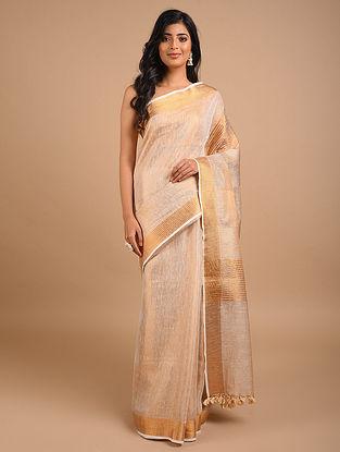Peach Handwoven Tissue Linen Saree