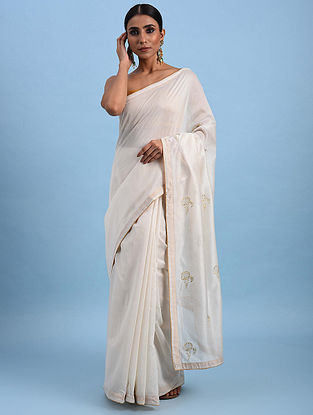 Ivory Hand Embroidered Chanderi Saree