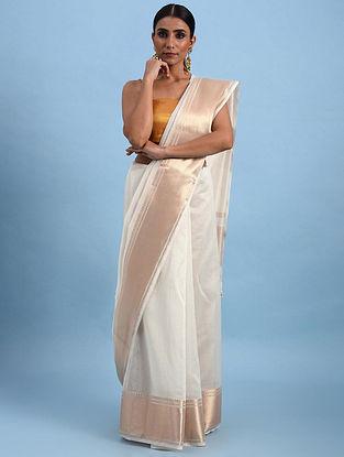 Ivory Handwoven Maheshwari Saree