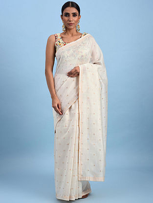 Ivory Handwoven Chanderi Saree