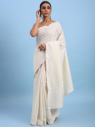 Ivory Benarasi Cotton Cutwork Saree with Block Print