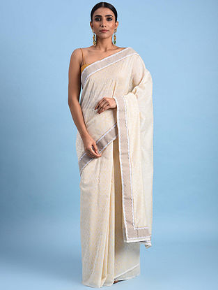 Ivory Block Printed Chanderi Saree