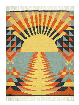 Orange-Multicolor Handwoven Wool Rug (60in x 48in)