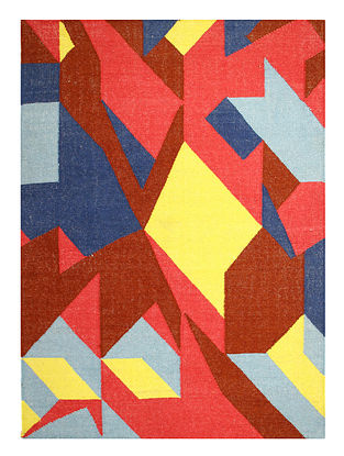 Red-Multicolor Handwoven Wool Rug (60in x 48in)