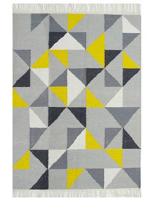Yellow-Multicolor Handwoven Wool Rug (60in x 48in)