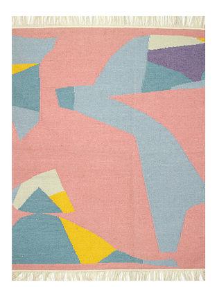 Pink-Multicolor Handwoven Wool Rug (60in x 48in)