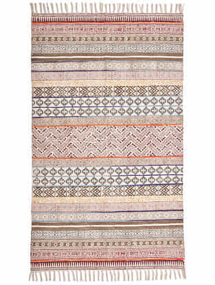 Varna Multicolor Block Printed Cotton Dhurrie with Recycled Silk Embroidery (60in x 36in)