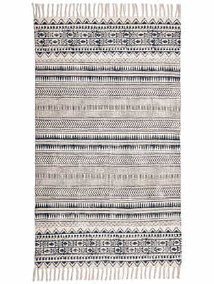 Lekha Blue and White Block Printed Cotton Dhurrie (60in x 36in)