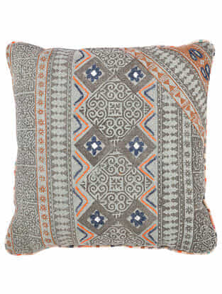 Blue-Multicolor Block Printed Cotton Cushion Cover with Striped Backing and Piping with Recycled Silk Embroidery (20in x 20in)