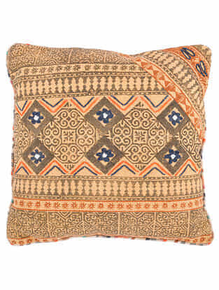 Yellow-Multicolor Block Printed Cotton Cushion Cover with Striped Backing and Piping with Recycled Silk Embroidery (20in x 20in)