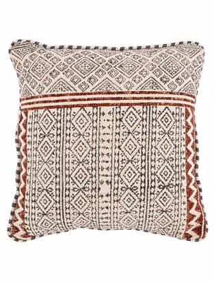 Cheer Black-Multicolor Block Printed Cotton Cushion Cover with Striped Backing and Piping (16in x 16in)