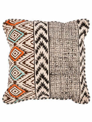 Jalli Black-Multicolor Block Printed Cotton Cushion Cover with Striped Backing and Piping with Recycled Silk Embroidery (16in x 16in)