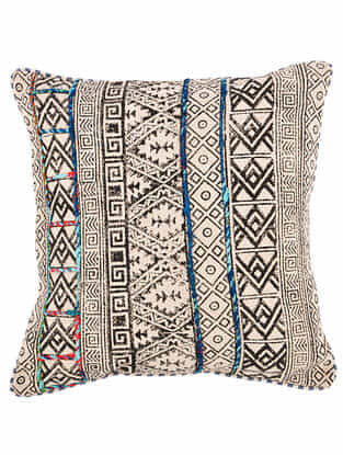 Maze Black-Multicolor Block Printed Cotton Cushion Cover with Striped Backing and Piping with Recycled Silk Embroidery (20in x 20in)
