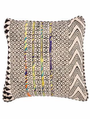 Anaik Black and White Block Printed Cotton Cushion Cover with Striped Backing and Piping with Recycled Silk Embroidery (18in x 18in)